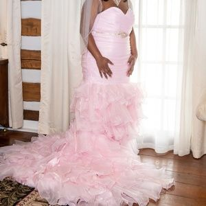 Blush Mermaid Wedding Gown Plus Size Corset Back